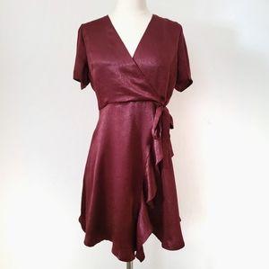 LUSH Burgundy Red Short Sleeve Flowy Dress